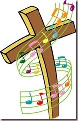 music notes, cross