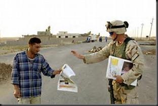Soldier, newspaper