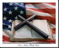 Cross, Bible, Flag