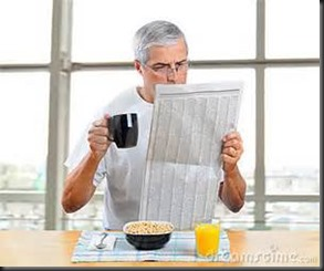 Man, Breakfast, Newspaper