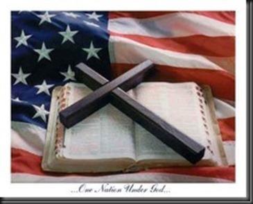 Cross, Bible, American Flag,