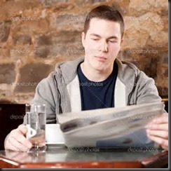 Man, Water, Newspaper