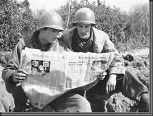 soldiers, newspaper